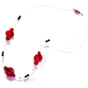 Necklace featuring Lampwork Murano Glass Beads with Internal Gold Leaf