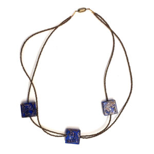 Necklace with 3 Blue Avventurine Beads
