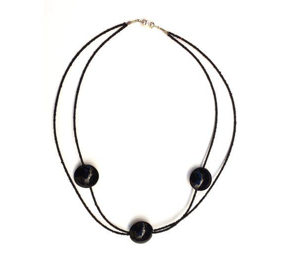 Collana nero 3 perle tonde