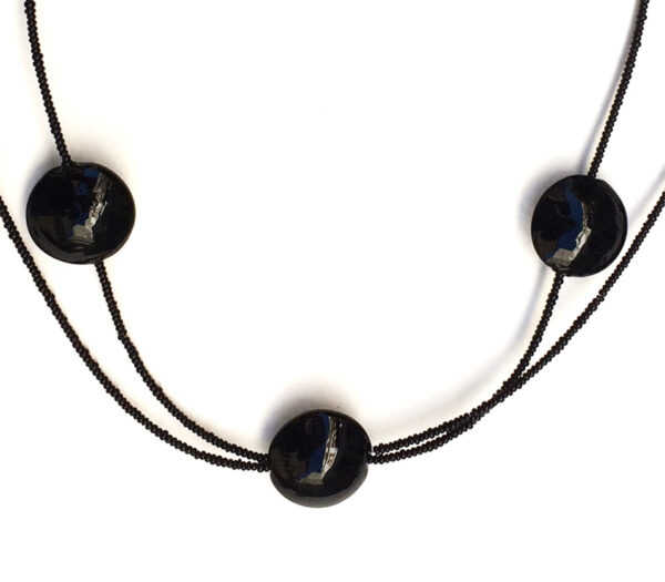 Necklace with 3 Round Black Beads