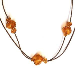 Collana avventurina 3 perle oro elica