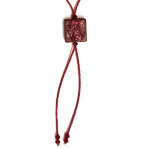 Collana con perla a lume - rossa quadrata