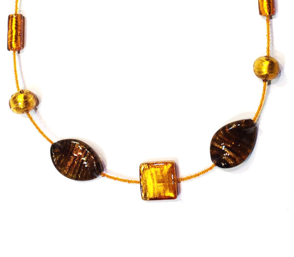Necklace with vintage Murano glass beads anf mixed beads with internal gold leaf.
