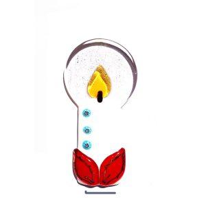 Candela in vetro di Murano con base - bianca