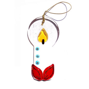 Candle in Murano glass - hanging ornament - white