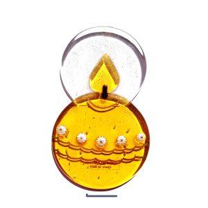 Candela in vetro di Murano con base - oro